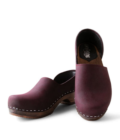 Brett Low - Purple with Dark base slip on Swedish clog