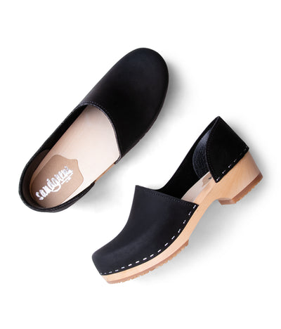 Brett Low Black with light base closed back women's clog
