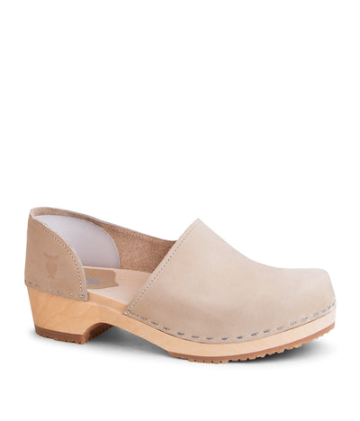 Brett Low tan low heel closed back women's clog