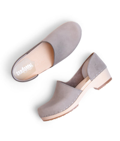 Brett Low grey low heel closed back clog