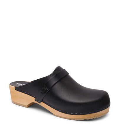 Malmö - Black veg tan leather men's wooden clog