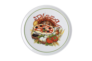 Cinzia Pizza Plate with Pizza Decoration (Set of 6)