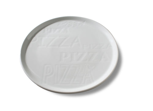 Embossed White Cinzia Pizza Plate (Set of 6)