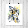 Great Horned Owl Colorful Watercolor Painting