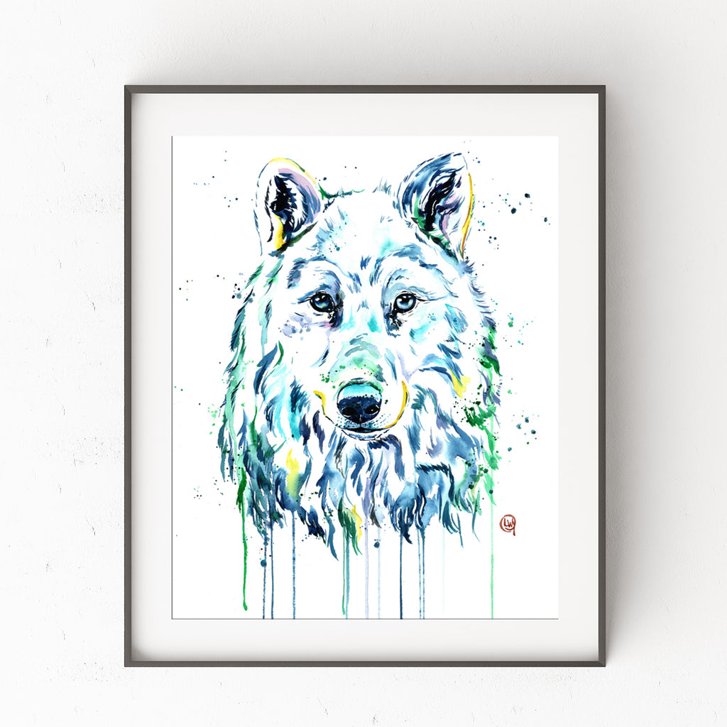 Arctic Wolf Colorful Watercolor Painting