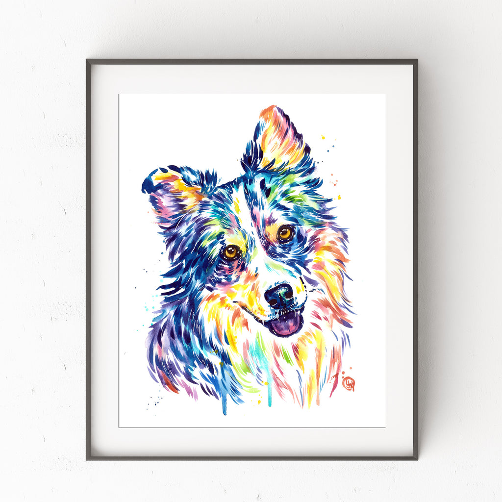 Australian Shepherd Watercolor Painting Art Print
