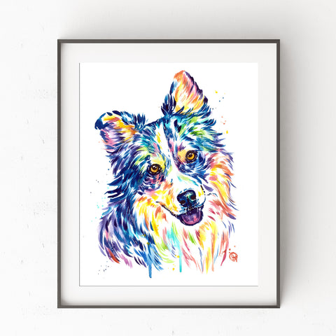 Australian Shepherd Art by Whitehouse Art | Australian Shepherd Gift, Dog Mom, Veterinarian Gift, Wall Art, Prints, Watercolor Painting