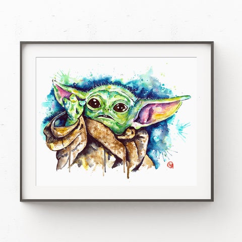 Baby Yoda Watercolor Art Print