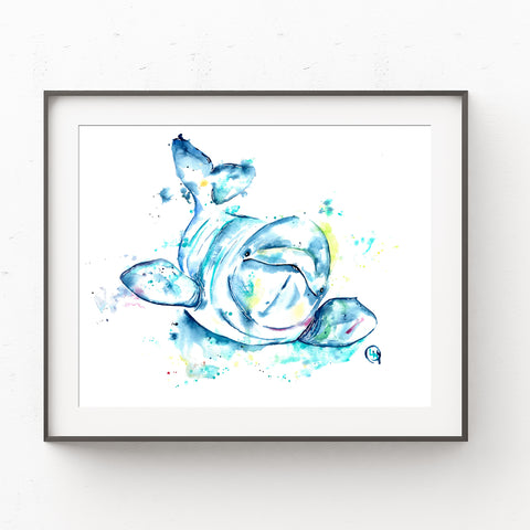 Baby Beluga Painting in a black frame