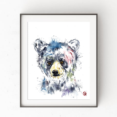 Black Bear Cub - Frazzled - Watercolor Painting