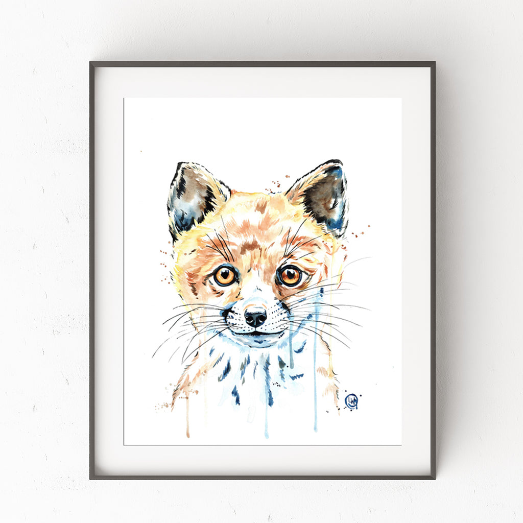 Baby Fox Colorful Watercolor Painting