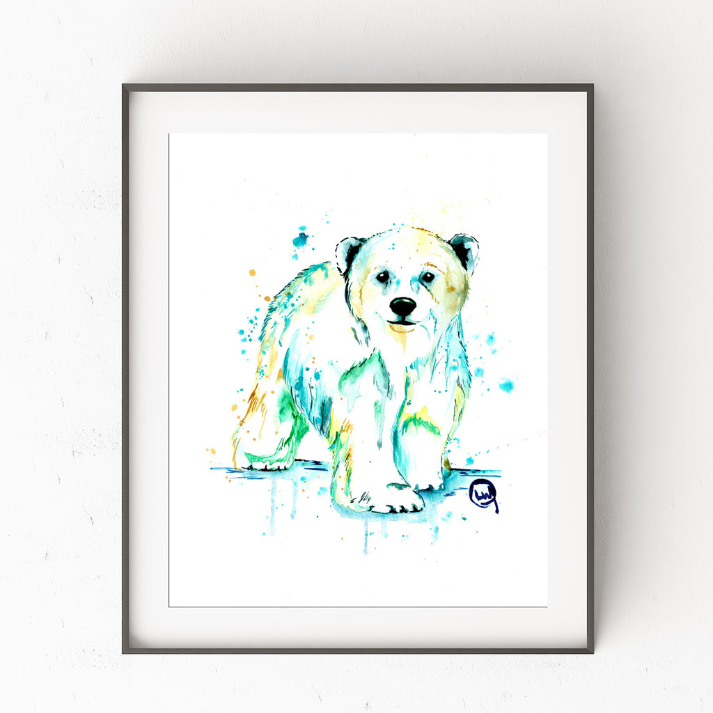 Baby Polar Bear Colorful Watercolor Painting