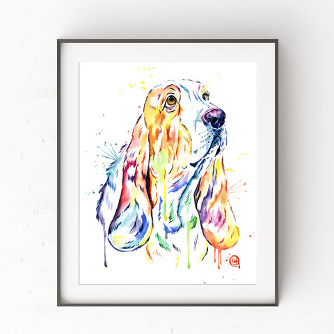 Basset Hound Colorful Pet Portrait Painting