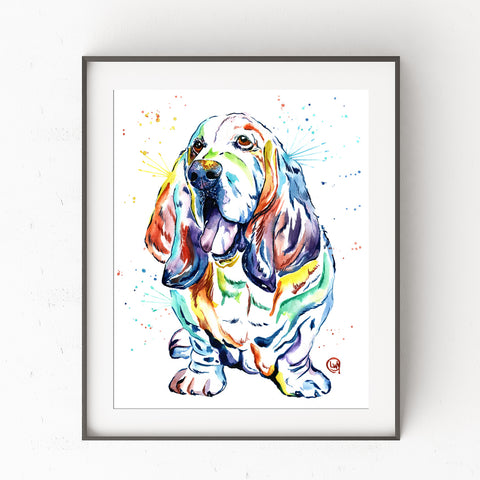 Basset Hound Colorful Watercolor Pet Portrait Painting