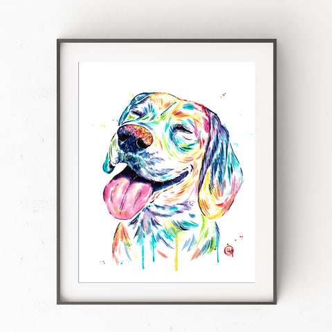 Beagle Wall Art by Whitehouse Art | Dog Mom, Dog Decor, Colorful Pet, Art Prints, Pet Memorial | Professional Art Print of Beagle Watercolor Painting | 7 Sizes
