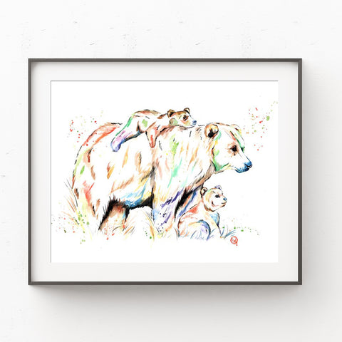 Bear Cubs And Mom Watercolor Painting
