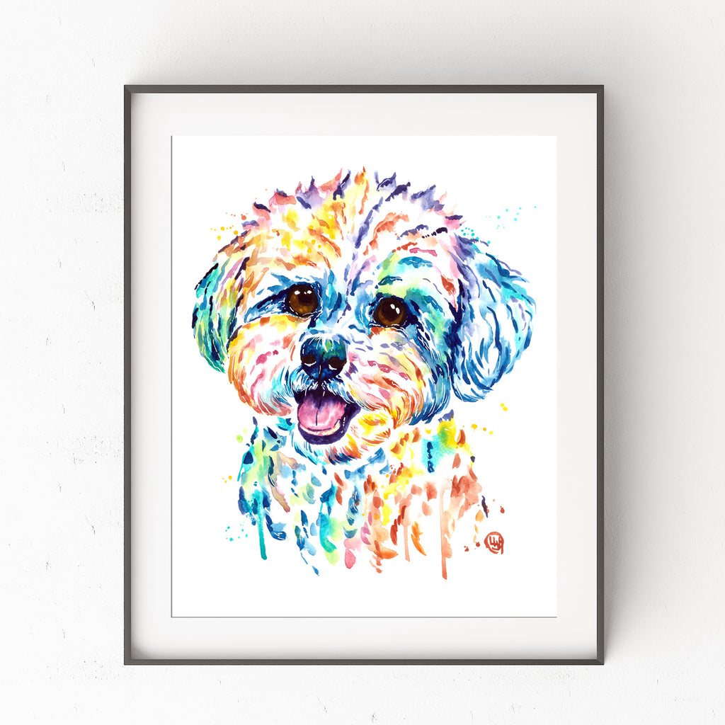 Bichon Frise Watercolor Painting Art Print