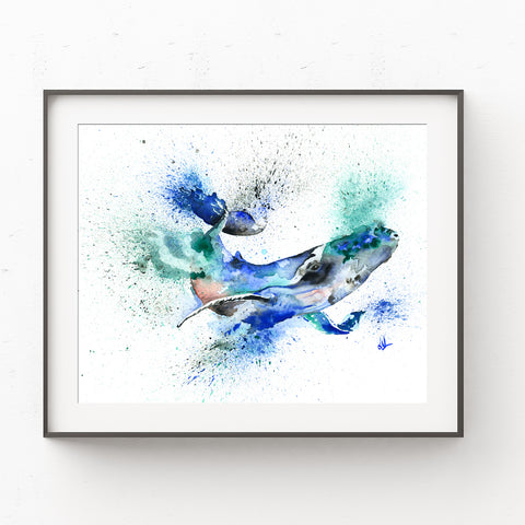 Blue Whale Watercolor Painting