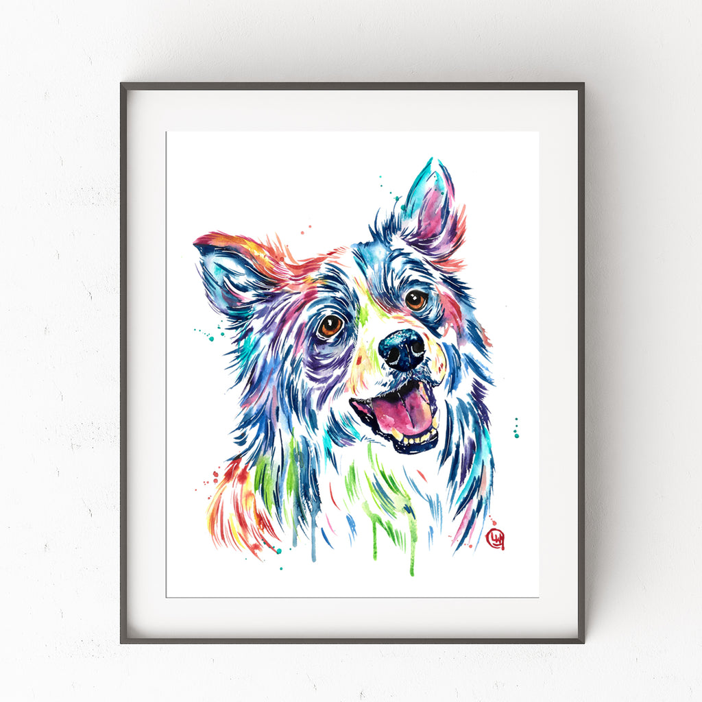 Border Collie Watercolor Dog Painting