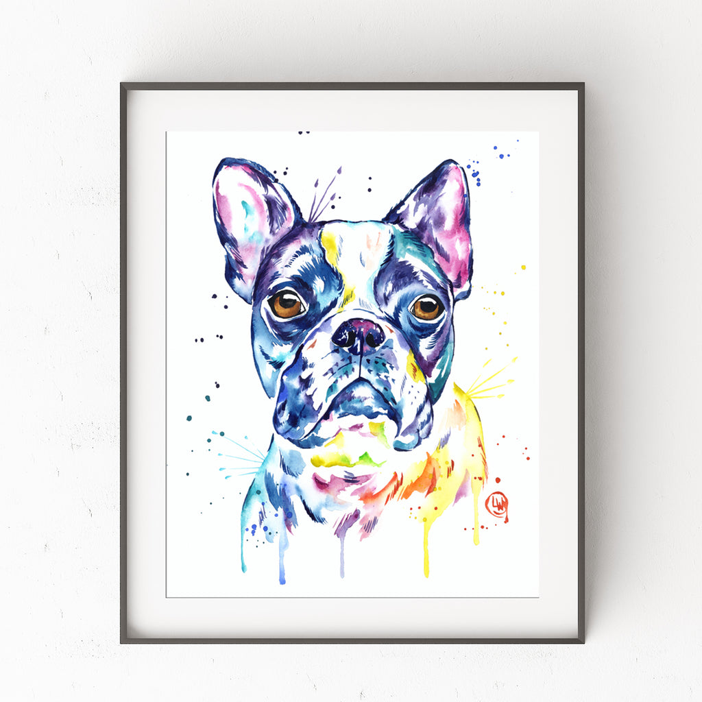 Boston Terrier Colorful Pet Portrait Painting