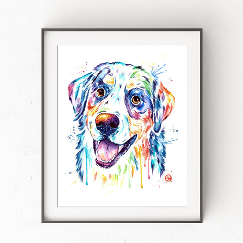 Bernese Mountain Dog Colorful Watercolor Pet Portrait Painting