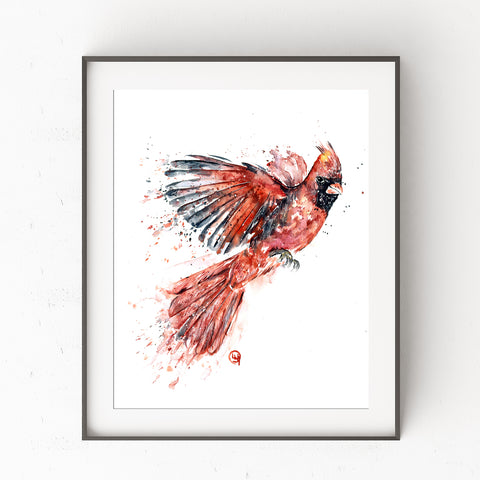 Print of Cardinal Watercolour Painting by Lisa Whitehouse