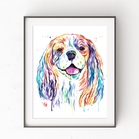 Cavalier King Charles Spaniel Watercolor Dog Painting