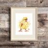 Chick Watercolor Painting Art Print