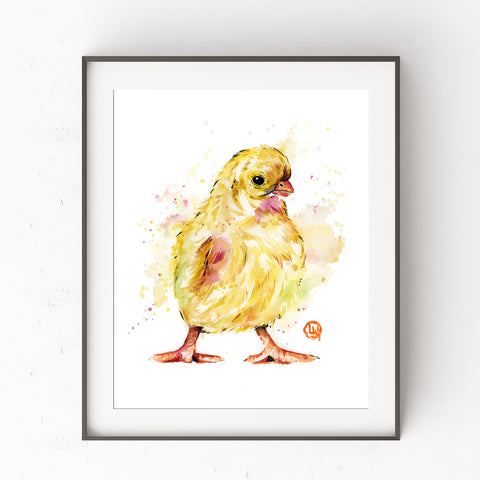 Duckling Watercolor Painting Art Print