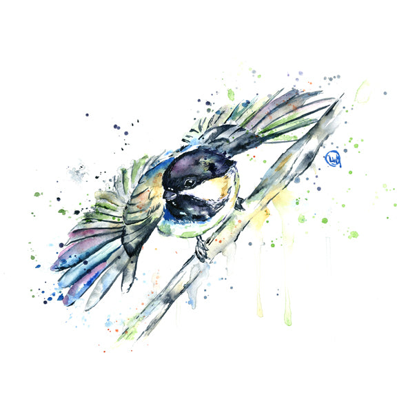 Original Chickadee Watercolor Painting by Lisa Whitehouse