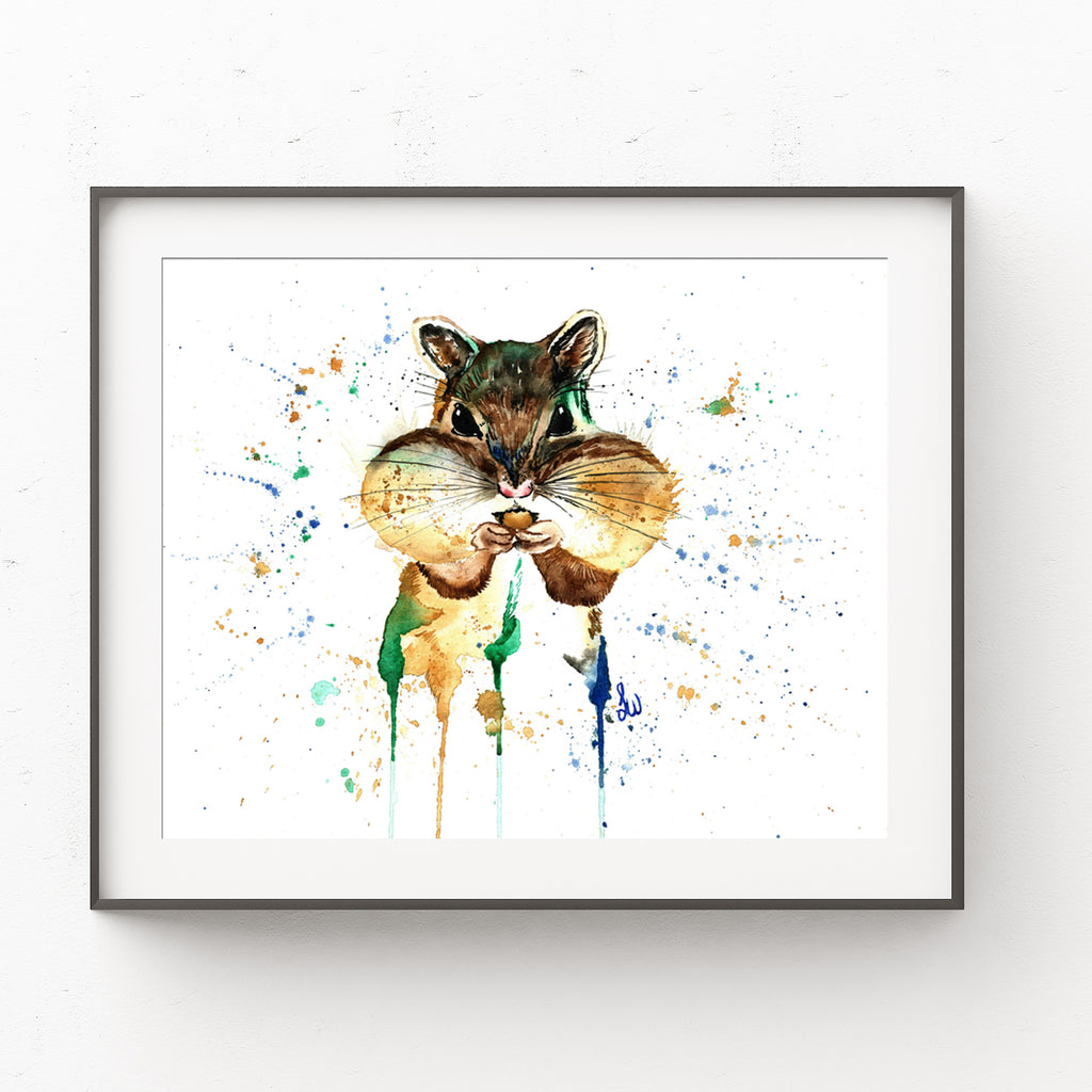 Chipmunk Colorful Watercolor Painting