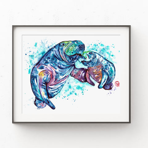 Manatee Watercolor Painting - Sea Potatoes