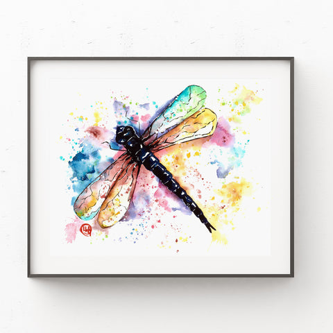 Dragonfly Colorful Watercolor Painting