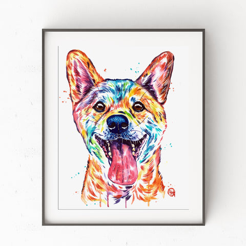 Shiba Inu Watercolor Painting Art Print