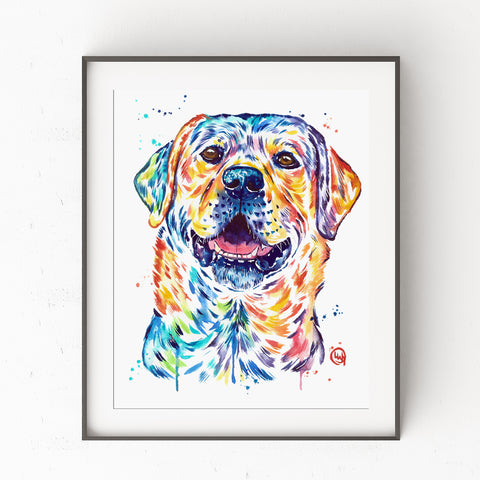 Happy Lab Print by Whitehouse Art | titled