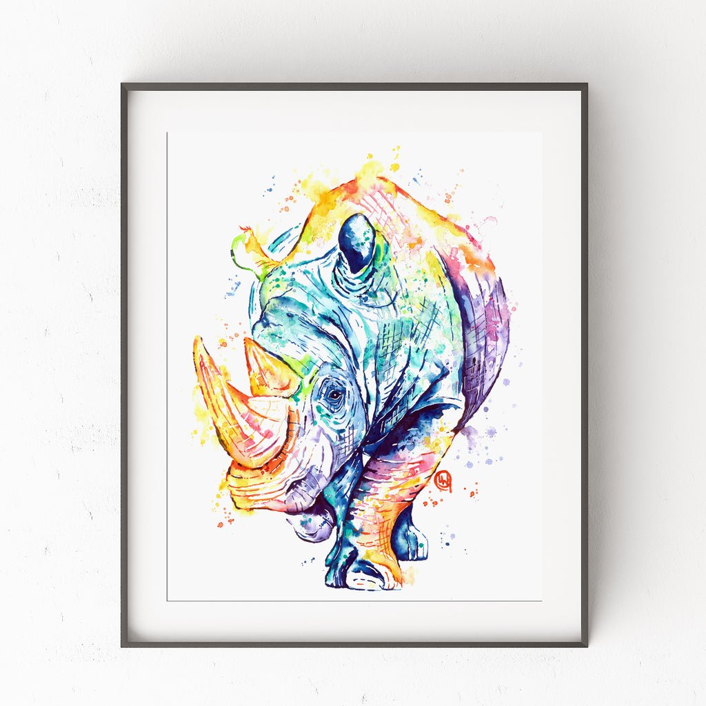 Rhino Print by Whitehouse Art | Rhino Painting