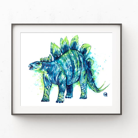 Stegosaurus art print watercolor painting