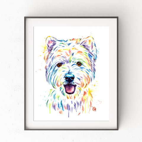 Westie Colorful Pet Portrait Watercolor Painting