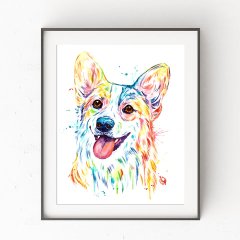 Corgi Colorful Pet Portrait Watercolor Painting