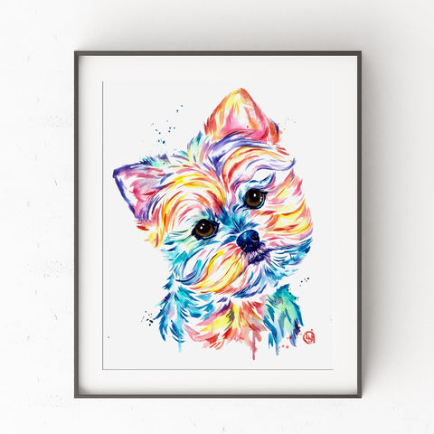 Yorkie Watercolor Painting Art Print