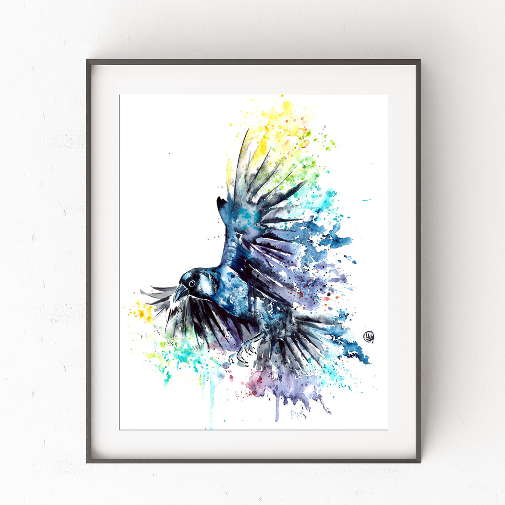 Raven watercolor painting