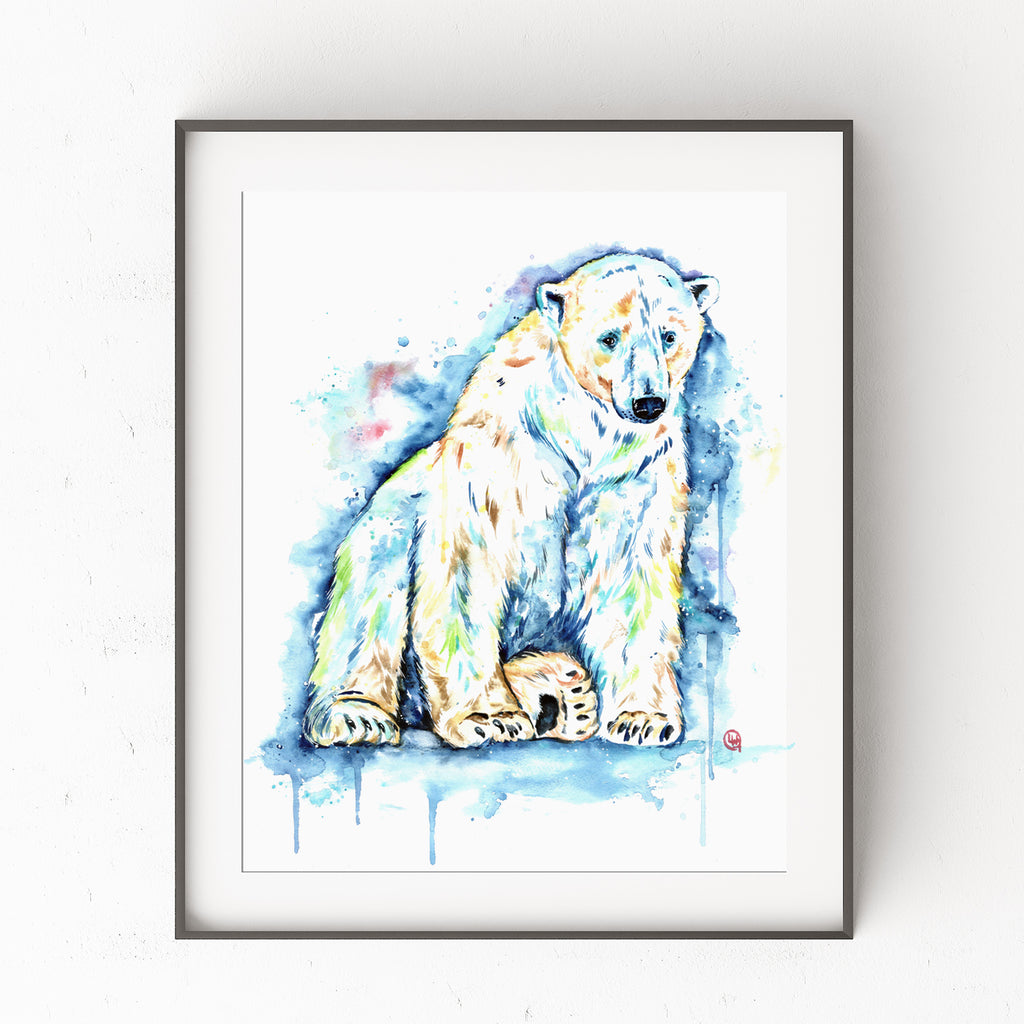 Polar Bear Watercolor Painting Art Print