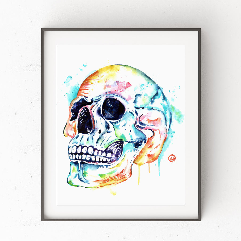 Skull Watercolor Painting Art Print