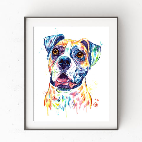 Boxer Colorful Pet Portrait Watercolor Painting