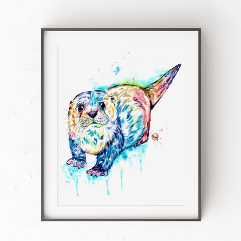 Otter Art Print Watercolor Painting