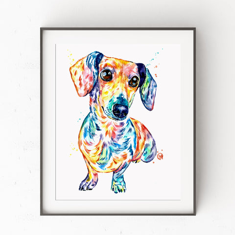 Dachshund Watercolor Dog Painting