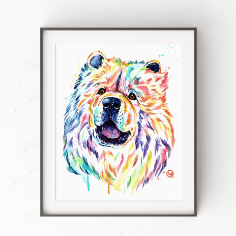 Chow Chow Watercolor Painting