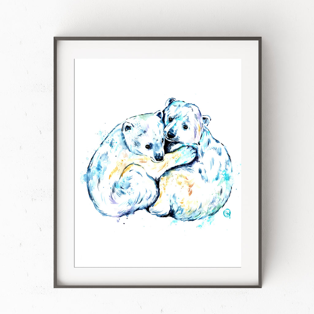 Polar Bear Brothers Watercolor Painting
