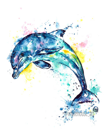 Original Dolphin Watercolor Painting