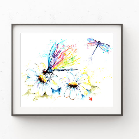 Dragonflies Colorful Watercolor Painting